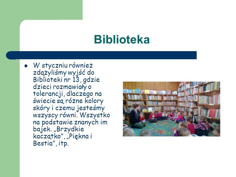 Biblioteka W styczniu również zdążyliśmy wyjść do Biblioteki nr 13, gdzie dzieci rozmawiały o tolerancji, dlaczego na świecie są różne kolory skóry i