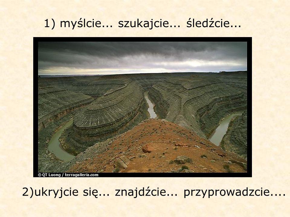 1) myślcie... szukajcie... śledźcie... 2)ukryjcie się... znajdźcie... przyprowadzcie....