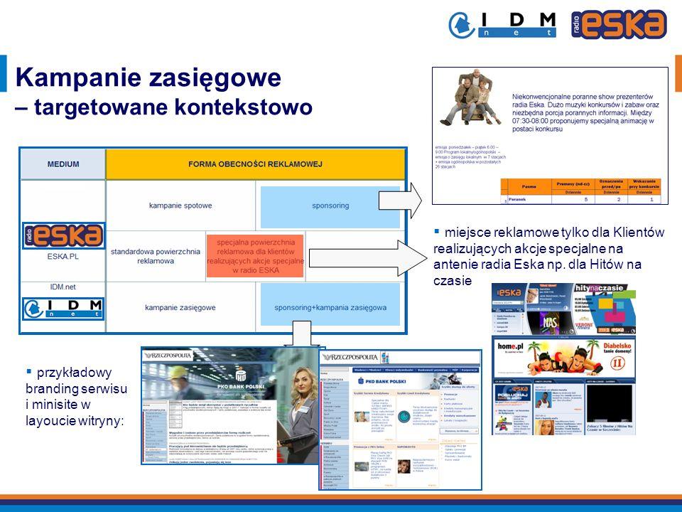 przykładowy branding serwisu i minisite w layoucie witryny: Kampanie zasięgowe – targetowane kontekstowo miejsce reklamowe tylko dla Klientów realizuj