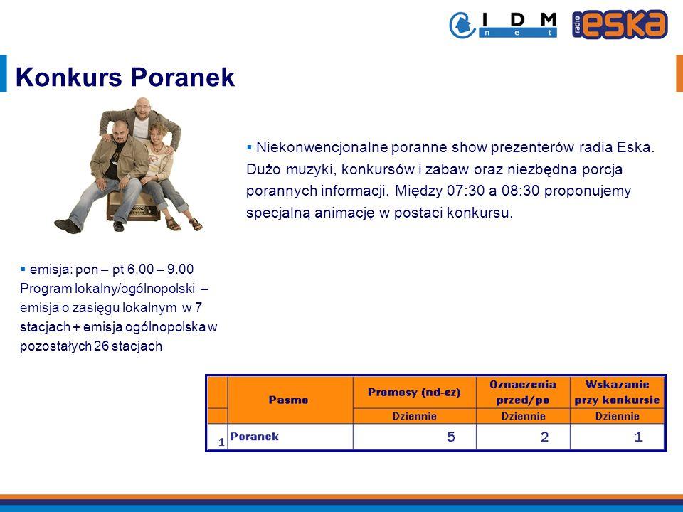emisja: pon – pt 6.00 – 9.00 Program lokalny/ogólnopolski – emisja o zasięgu lokalnym w 7 stacjach + emisja ogólnopolska w pozostałych 26 stacjach Kon
