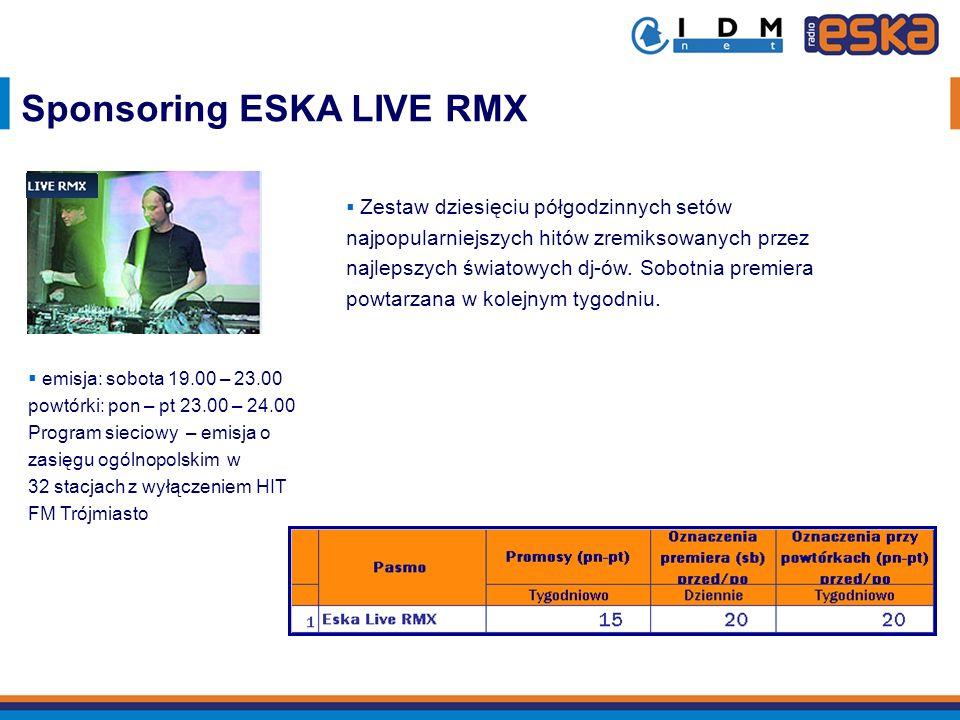 Sponsoring ESKA LIVE RMX Zestaw dziesięciu półgodzinnych setów najpopularniejszych hitów zremiksowanych przez najlepszych światowych dj-ów. Sobotnia p