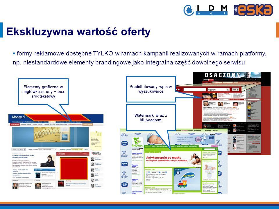 Elementy graficzne w nagłówku strony + box sródtekstowy Predefiniowany wpis w wyszukiwarce Watermark wraz z billboadrem Ekskluzywna wartość oferty for