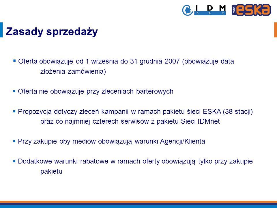 Zasady sprzedaży Oferta obowiązuje od 1 września do 31 grudnia 2007 (obowiązuje data złożenia zamówienia) Oferta nie obowiązuje przy zleceniach barter