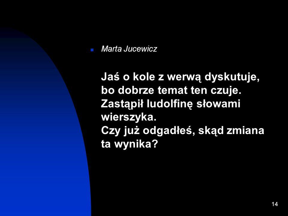 13 Kazimierz Cwojdziński Kuć i orać w dzień zawzięcie, bo plonów niema bez trudu złocisty szczęścia okręcie kołyszesz... Kuć. My nie czekajmy cudu rob