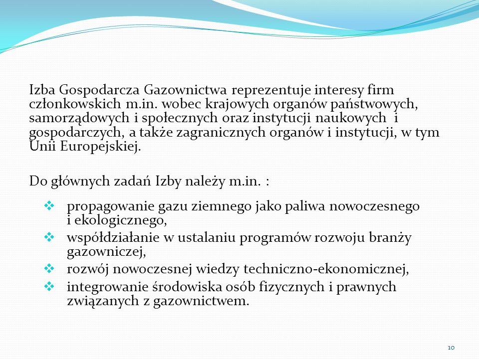 Izba Gospodarcza Gazownictwa reprezentuje interesy firm członkowskich m.in. wobec krajowych organów państwowych, samorządowych i społecznych oraz inst