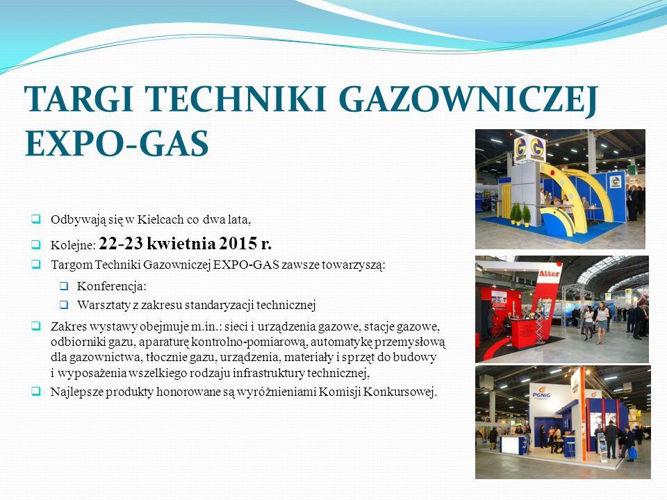 TARGI TECHNIKI GAZOWNICZEJ EXPO-GAS Odbywają się w Kielcach co dwa lata, Kolejne: 22-23 kwietnia 2015 r. Targom Techniki Gazowniczej EXPO-GAS zawsze t