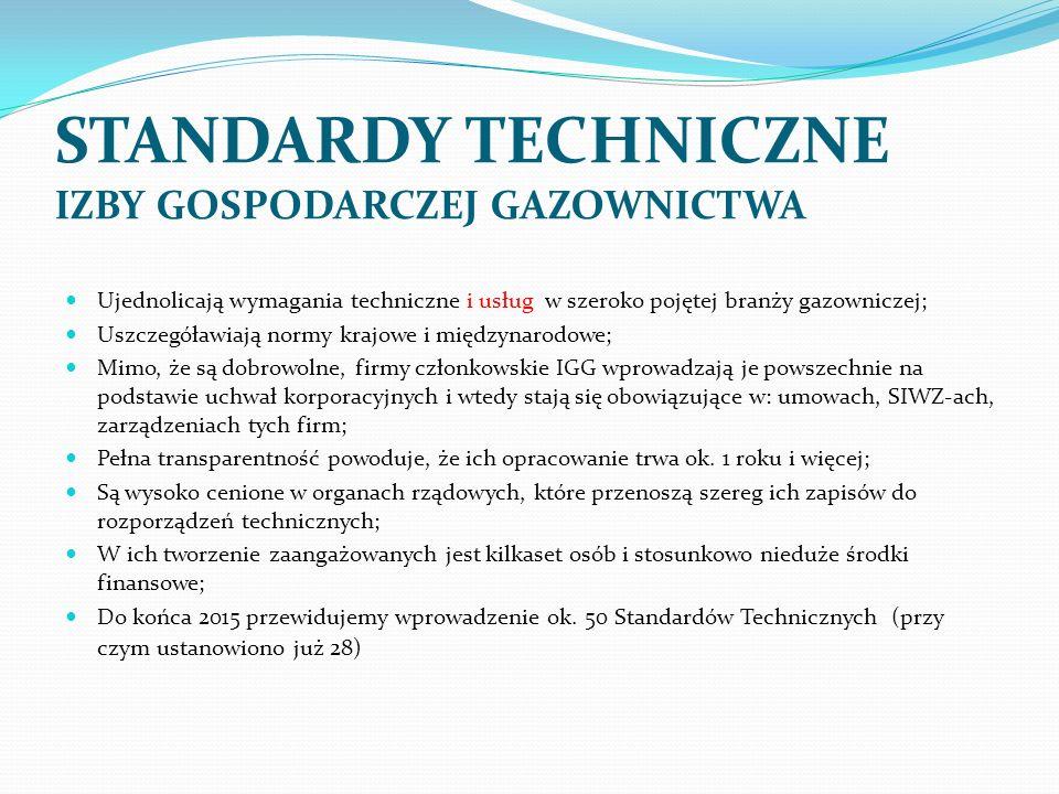 Ujednolicają wymagania techniczne i usług w szeroko pojętej branży gazowniczej; Uszczegóławiają normy krajowe i międzynarodowe; Mimo, że są dobrowolne