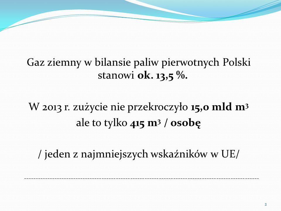 Gaz ziemny w bilansie paliw pierwotnych Polski stanowi ok. 13,5 %. W 2013 r. zużycie nie przekroczyło 15,0 mld m 3 ale to tylko 415 m 3 / osobę / jede