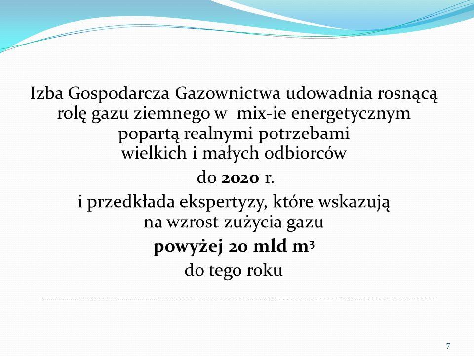 Izba Gospodarcza Gazownictwa reprezentuje przeważającą część firm działających na polskim rynku gazu i bezpośrednio (z różnym skutkiem) uczestniczy w opracowywaniu: nowych regulacji prawnych (przesądzono, że będzie Prawo gazowe) Polityki Energetycznej Polski do 2050 r.