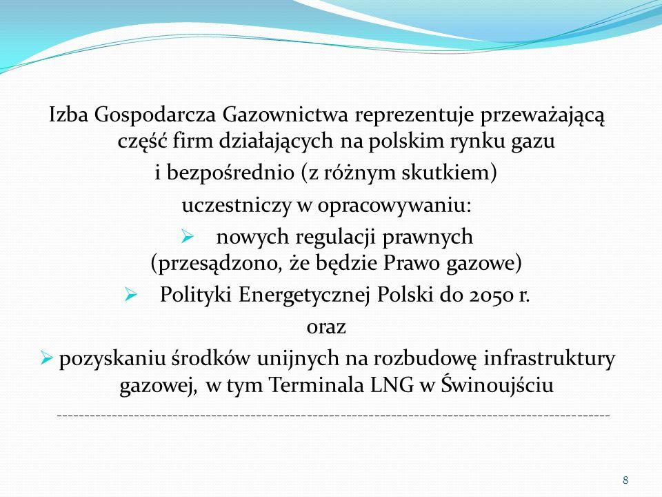 Izba Gospodarcza Gazownictwa reprezentuje przeważającą część firm działających na polskim rynku gazu i bezpośrednio (z różnym skutkiem) uczestniczy w