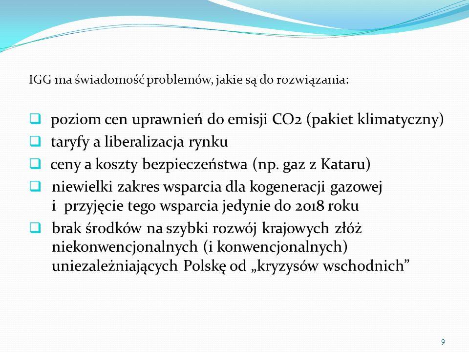 IGG ma świadomość problemów, jakie są do rozwiązania: poziom cen uprawnień do emisji CO2 (pakiet klimatyczny) taryfy a liberalizacja rynku ceny a kosz