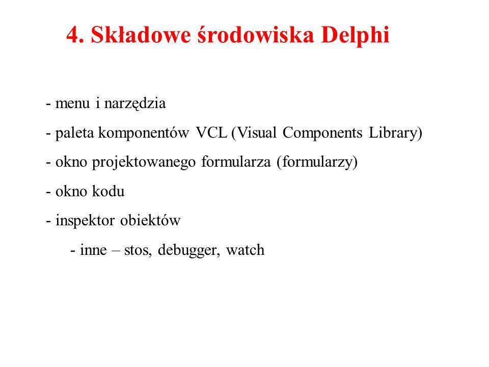 - menu i narzędzia - paleta komponentów VCL (Visual Components Library) - okno projektowanego formularza (formularzy) - okno kodu - inspektor obiektów - inne – stos, debugger, watch 4.