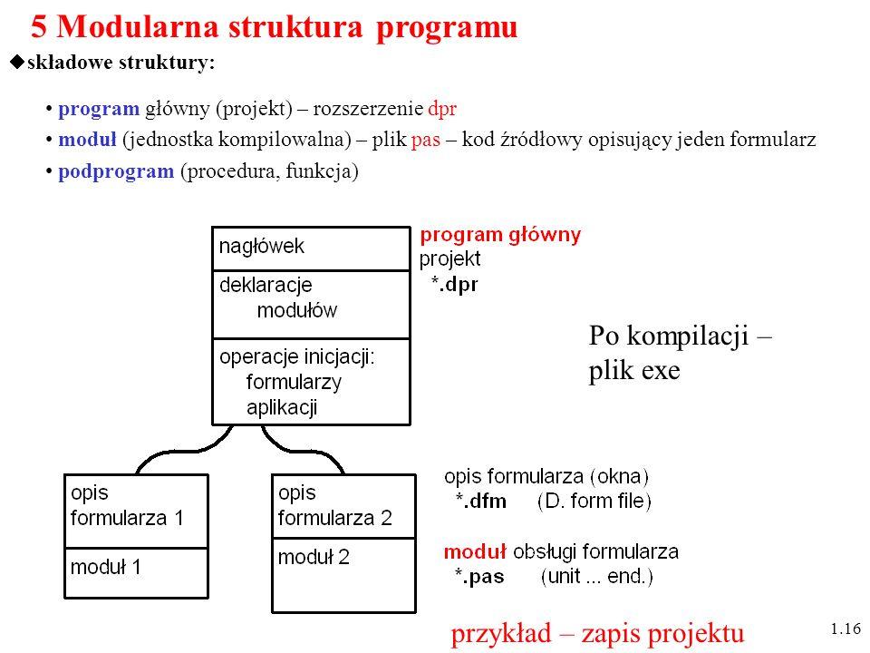5 Modularna struktura programu składowe struktury: program główny (projekt) – rozszerzenie dpr moduł (jednostka kompilowalna) – plik pas – kod źródłowy opisujący jeden formularz podprogram (procedura, funkcja) 1.16 Po kompilacji – plik exe przykład – zapis projektu