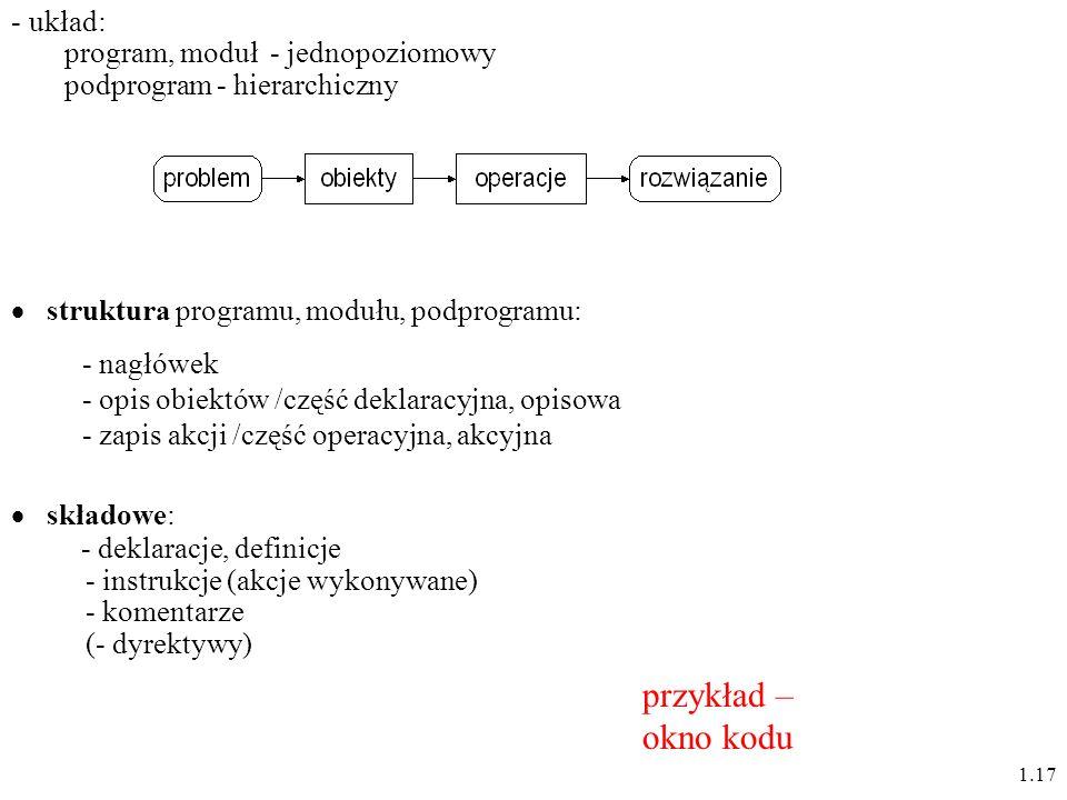 1.17 struktura programu, modułu, podprogramu: - nagłówek - opis obiektów /część deklaracyjna, opisowa - zapis akcji /część operacyjna, akcyjna - układ: program, moduł - jednopoziomowy podprogram - hierarchiczny składowe: - deklaracje, definicje - instrukcje (akcje wykonywane) - komentarze (- dyrektywy) przykład – okno kodu