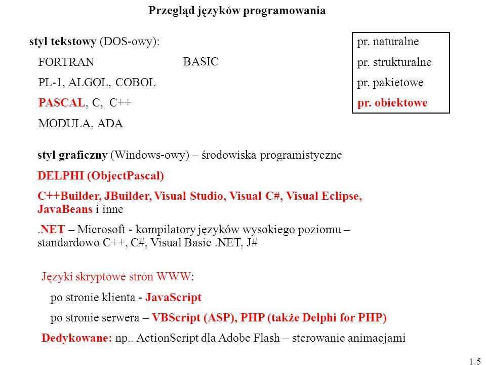 styl tekstowy (DOS-owy): FORTRAN PL-1, ALGOL, COBOL PASCAL, C, C++ MODULA, ADA BASIC styl graficzny (Windows-owy) – środowiska programistyczne DELPHI (ObjectPascal) C++Builder, JBuilder, Visual Studio, Visual C#, Visual Eclipse, JavaBeans i inne.NET – Microsoft - kompilatory języków wysokiego poziomu – standardowo C++, C#, Visual Basic.NET, J# pr.