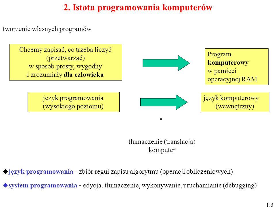 2. Istota programowania komputerów Chcemy zapisać, co trzeba liczyć (przetwarzać) w sposób prosty, wygodny i zrozumiały dla człowieka Program komputer