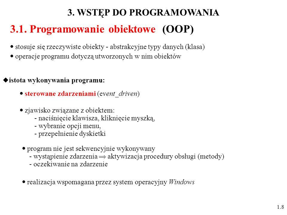 3.1. Programowanie obiektowe (OOP) program nie jest sekwencyjnie wykonywany - wystąpienie zdarzenia aktywizacja procedury obsługi (metody) - oczekiwan