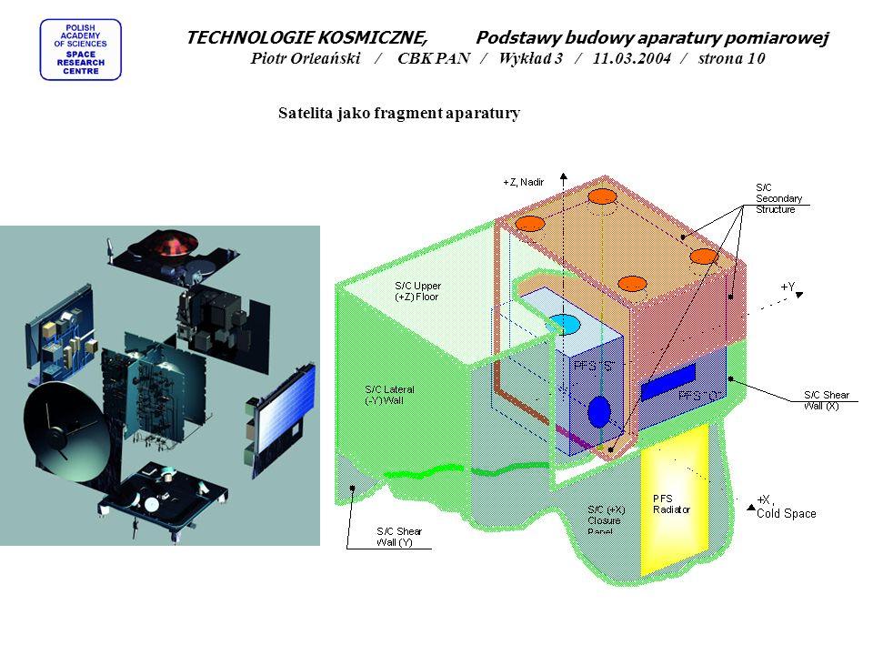 Satelita jako fragment aparatury TECHNOLOGIE KOSMICZNE, Podstawy budowy aparatury pomiarowej Piotr Orleański / CBK PAN / Wykład 3 / 11.03.2004 / stron