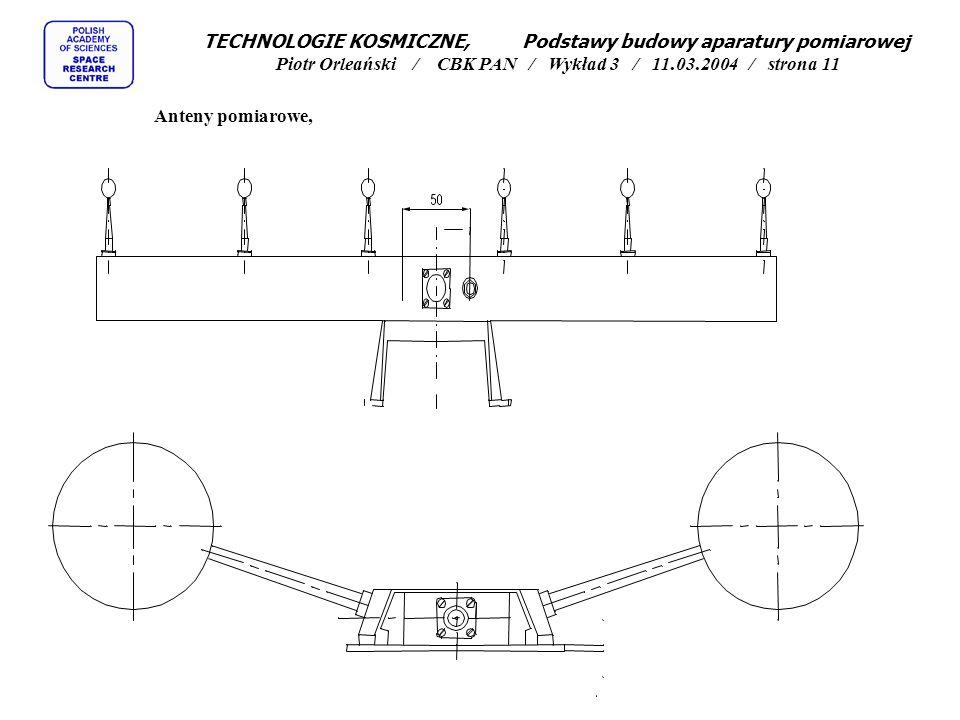 Anteny pomiarowe, TECHNOLOGIE KOSMICZNE, Podstawy budowy aparatury pomiarowej Piotr Orleański / CBK PAN / Wykład 3 / 11.03.2004 / strona 11