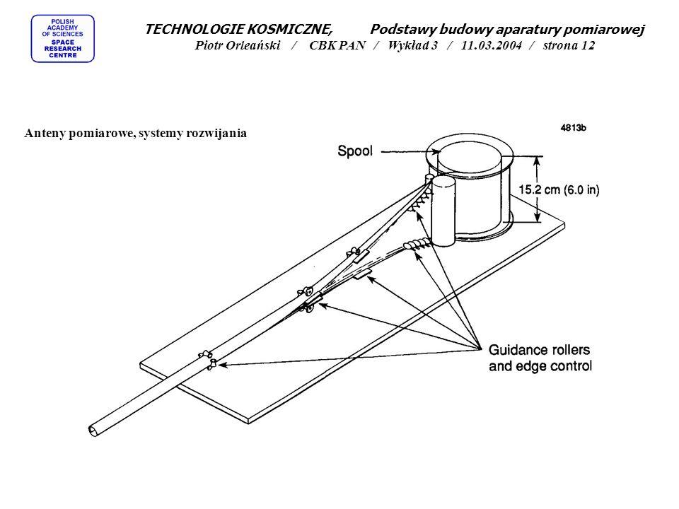 Anteny pomiarowe, systemy rozwijania TECHNOLOGIE KOSMICZNE, Podstawy budowy aparatury pomiarowej Piotr Orleański / CBK PAN / Wykład 3 / 11.03.2004 / s