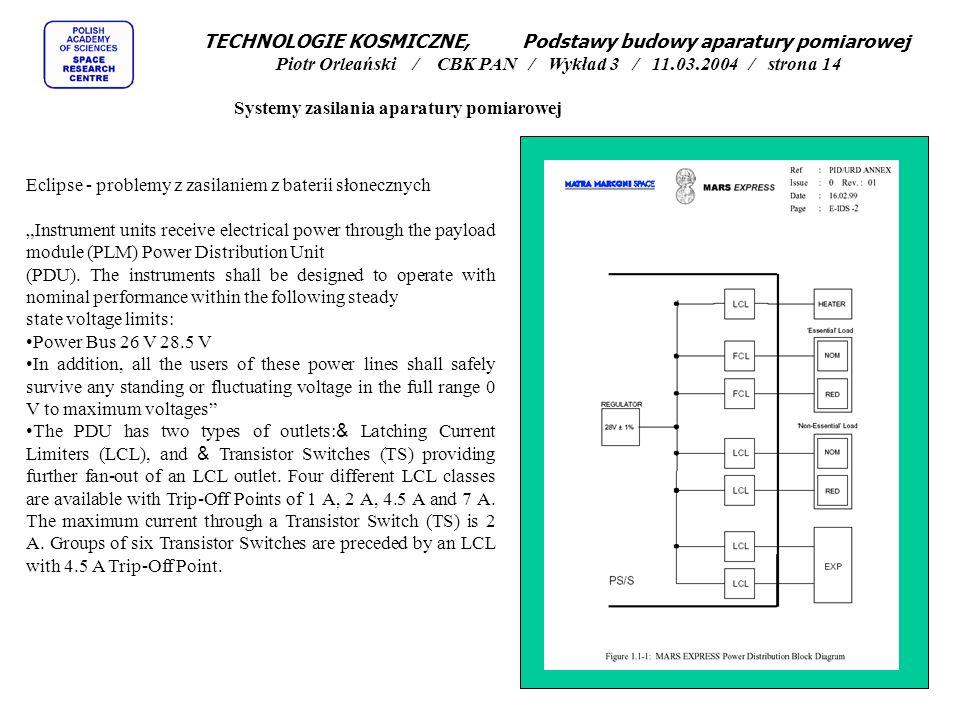 Systemy zasilania aparatury pomiarowej Eclipse - problemy z zasilaniem z baterii słonecznych Instrument units receive electrical power through the pay