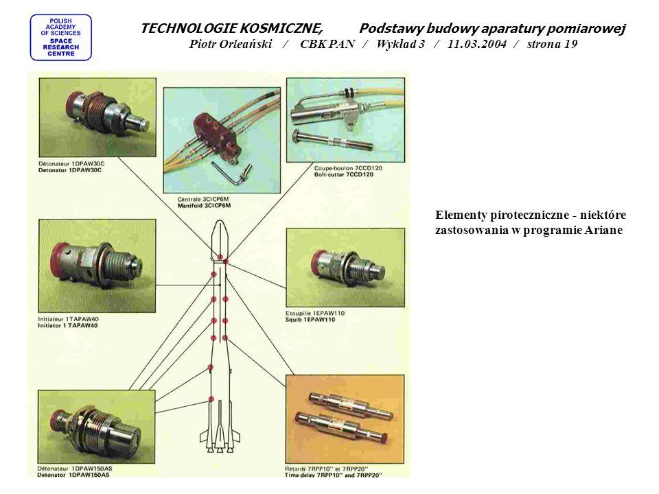 Elementy piroteczniczne - niektóre zastosowania w programie Ariane TECHNOLOGIE KOSMICZNE, Podstawy budowy aparatury pomiarowej Piotr Orleański / CBK P