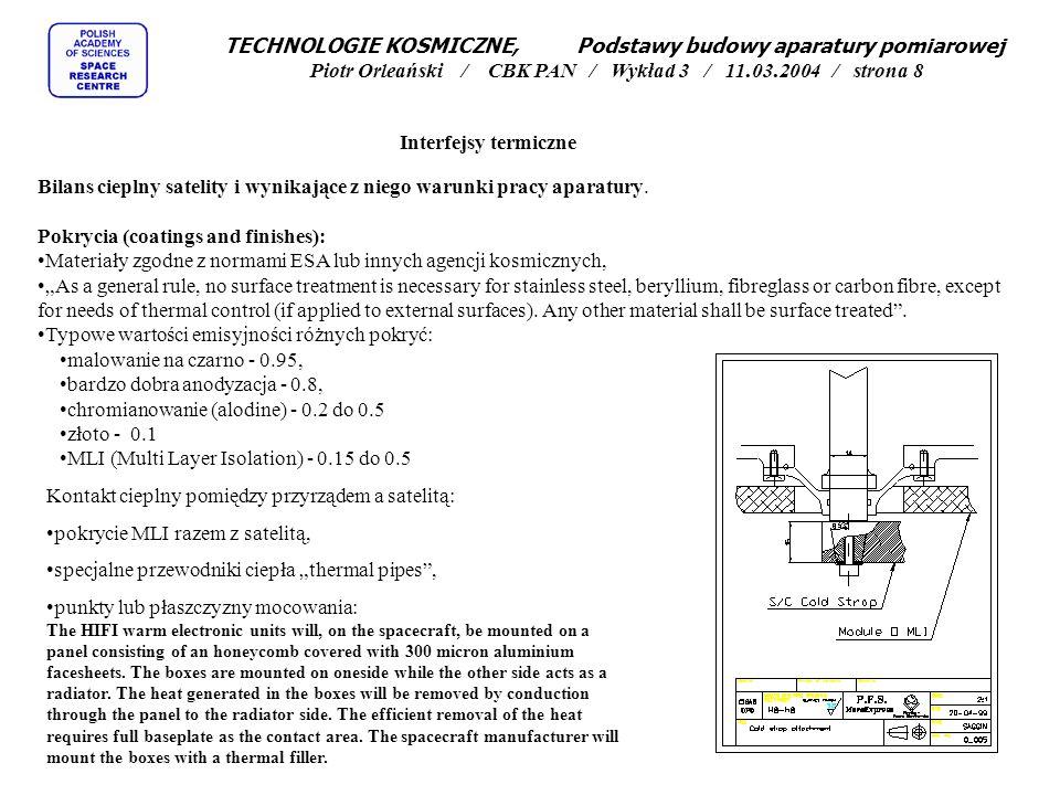 Interfejsy termiczne Bilans cieplny satelity i wynikające z niego warunki pracy aparatury. Pokrycia (coatings and finishes): Materiały zgodne z normam