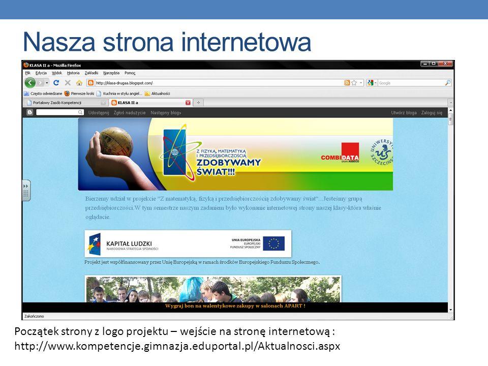 Nasza strona internetowa Początek strony z logo projektu – wejście na stronę internetową : http://www.kompetencje.gimnazja.eduportal.pl/Aktualnosci.as