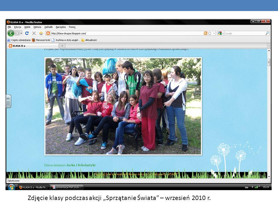 Zdjęcie klasy podczas akcji Sprzątanie Świata – wrzesień 2010 r.