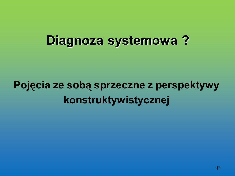 11 Diagnoza systemowa ? Pojęcia ze sobą sprzeczne z perspektywy konstruktywistycznej