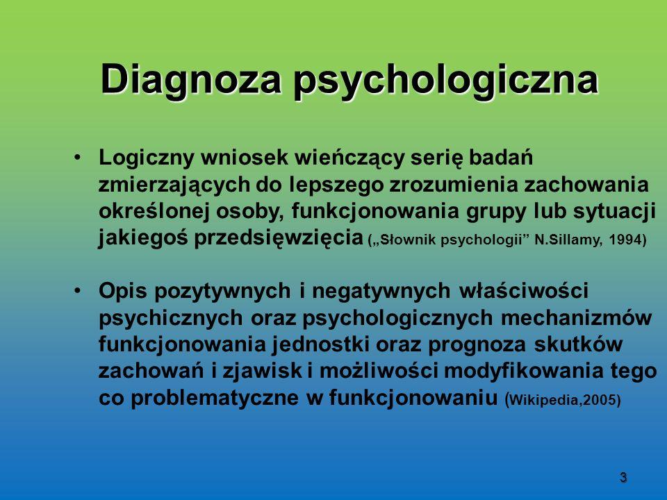 3 Diagnoza psychologiczna Logiczny wniosek wieńczący serię badań zmierzających do lepszego zrozumienia zachowania określonej osoby, funkcjonowania gru