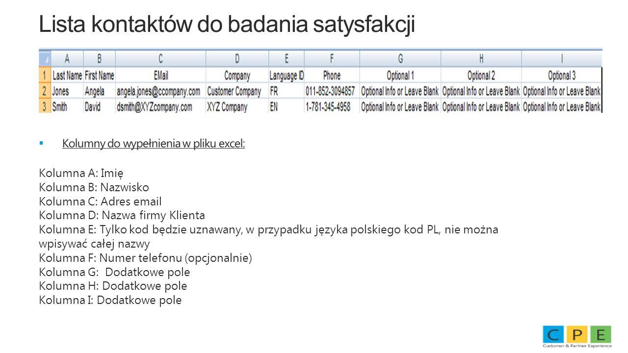Lista kontaktów do badania satysfakcji Kolumny do wypełnienia w pliku excel: Kolumna A: Imię Kolumna B: Nazwisko Kolumna C: Adres email Kolumna D: Naz