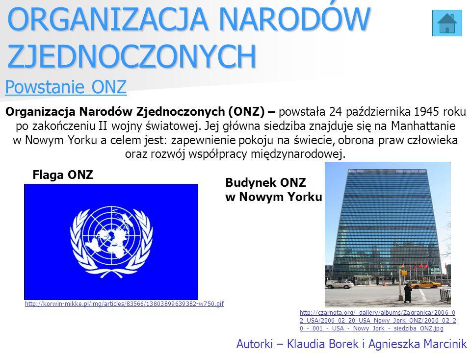 Powstanie ONZ Organizacja Narodów Zjednoczonych (ONZ) – powstała 24 października 1945 roku po zakończeniu II wojny światowej. Jej główna siedziba znaj