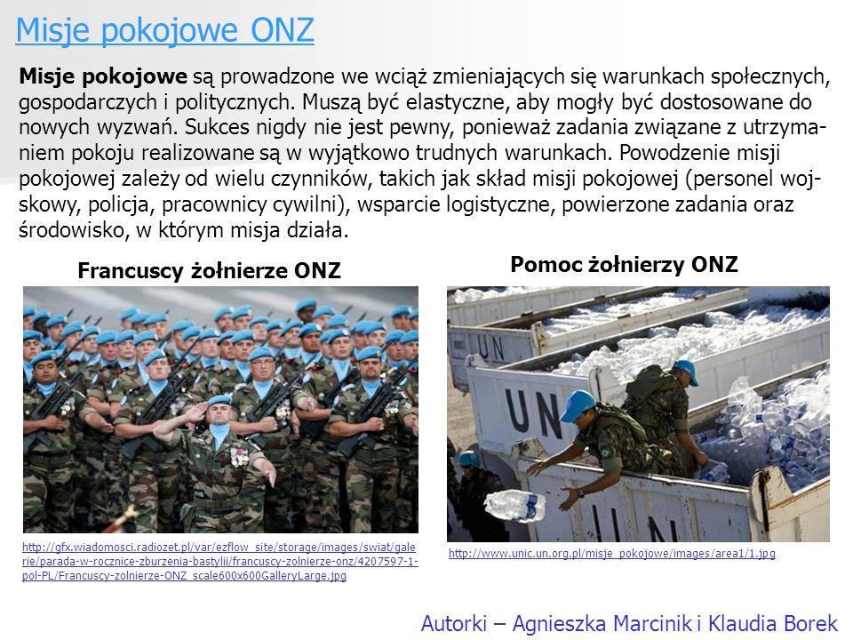 Misje pokojowe ONZ Autorki – Agnieszka Marcinik i Klaudia Borek Misje pokojowe są prowadzone we wciąż zmieniających się warunkach społecznych, gospoda