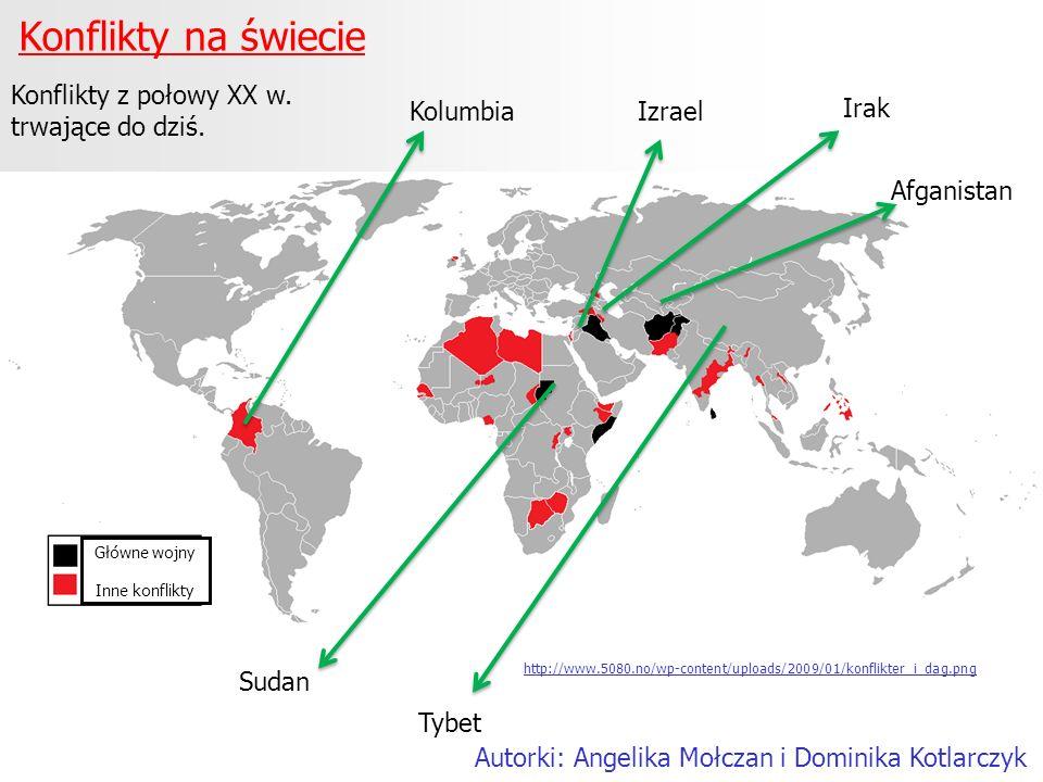 Konflikty na świecie Autorki: Angelika Mołczan i Dominika Kotlarczyk Kolumbia http://www.5080.no/wp-content/uploads/2009/01/konflikter_i_dag.png Sudan
