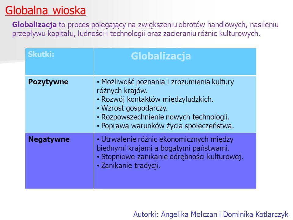 Globalna wioska Autorki: Angelika Mołczan i Dominika Kotlarczyk Globalizacja to proces polegający na zwiększeniu obrotów handlowych, nasileniu przepły