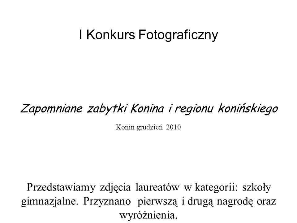 I Konkurs Fotograficzny Zapomniane zabytki Konina i regionu konińskiego Konin grudzień 2010 Przedstawiamy zdjęcia laureatów w kategorii: szkoły gimnazjalne.