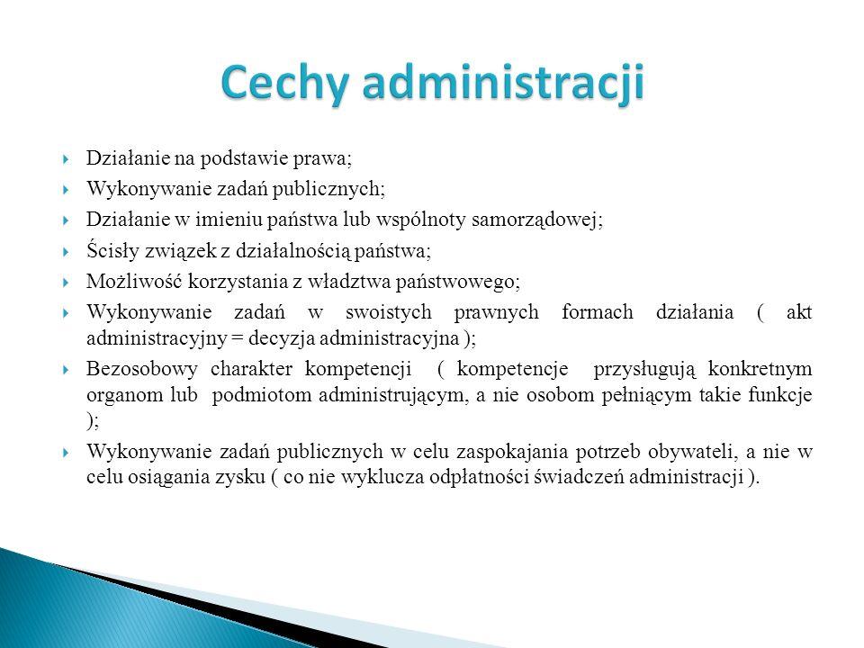 Działanie na podstawie prawa; Wykonywanie zadań publicznych; Działanie w imieniu państwa lub wspólnoty samorządowej; Ścisły związek z działalnością pa