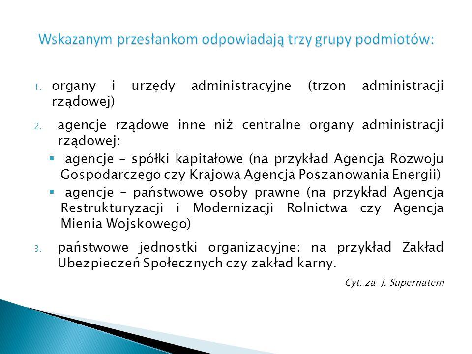 1. organy i urzędy administracyjne (trzon administracji rządowej) 2. agencje rządowe inne niż centralne organy administracji rządowej: agencje – spółk