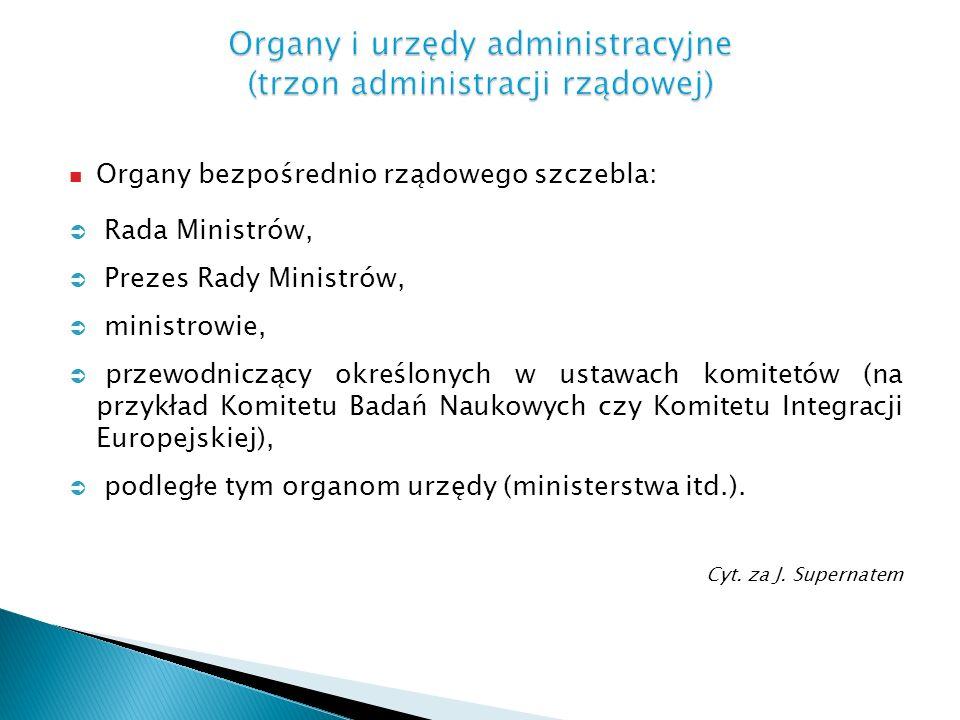 Organy bezpośrednio rządowego szczebla: Rada Ministrów, Prezes Rady Ministrów, ministrowie, przewodniczący określonych w ustawach komitetów (na przykł