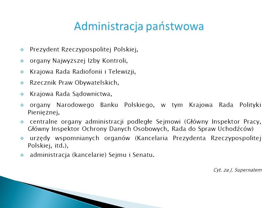 Prezydent Rzeczypospolitej Polskiej, organy Najwyższej Izby Kontroli, Krajowa Rada Radiofonii i Telewizji, Rzecznik Praw Obywatelskich, Krajowa Rada S