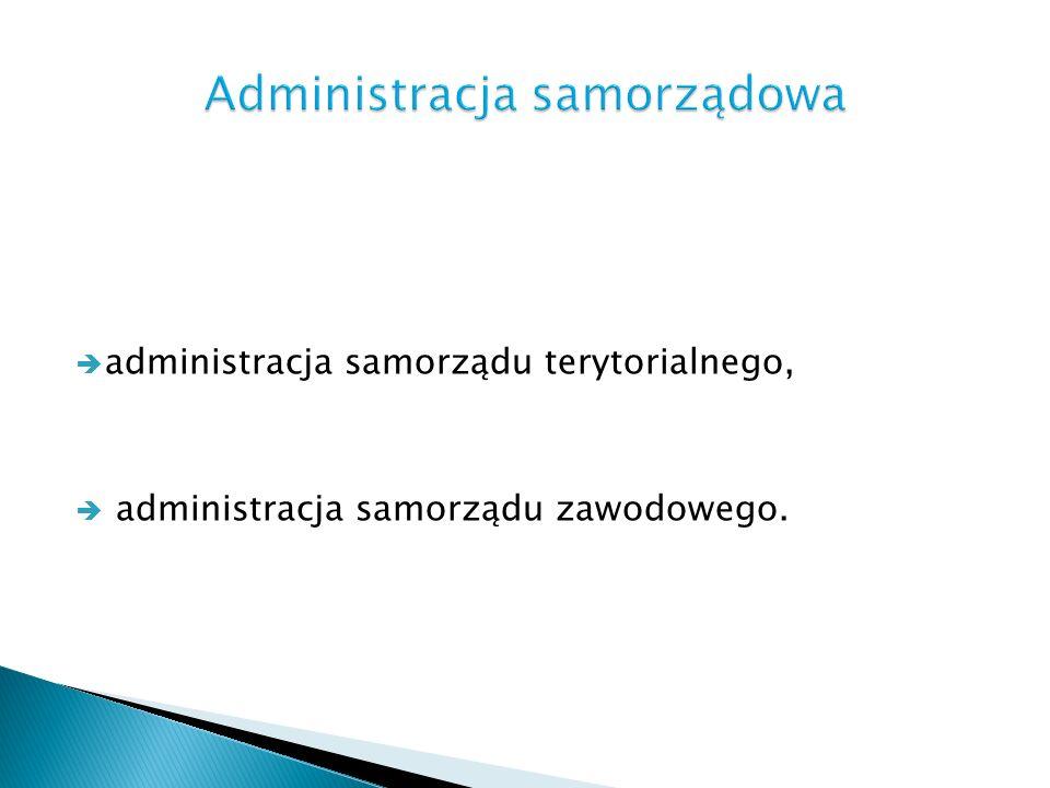 administracja samorządu terytorialnego, administracja samorządu zawodowego.