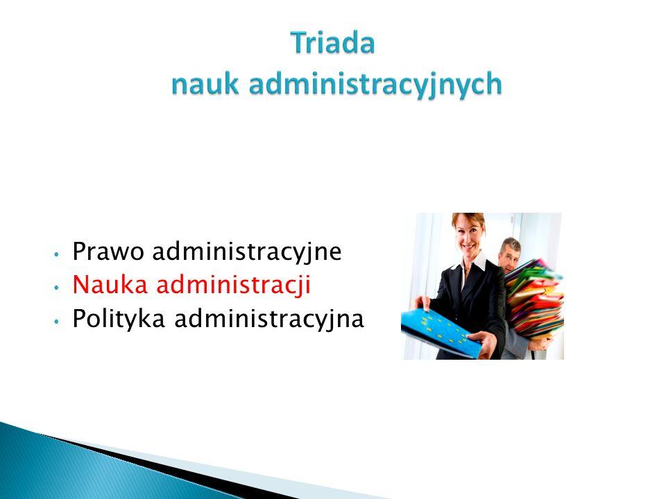 Prawo administracyjne Nauka administracji Polityka administracyjna