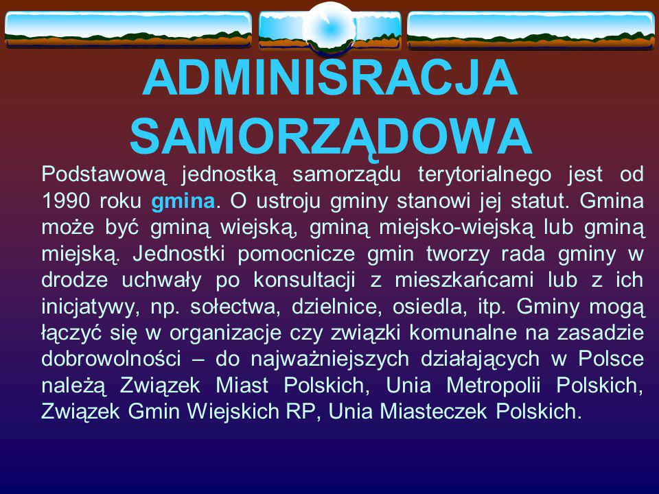 ADMINISRACJA SAMORZĄDOWA Podstawową jednostką samorządu terytorialnego jest od 1990 roku gmina.