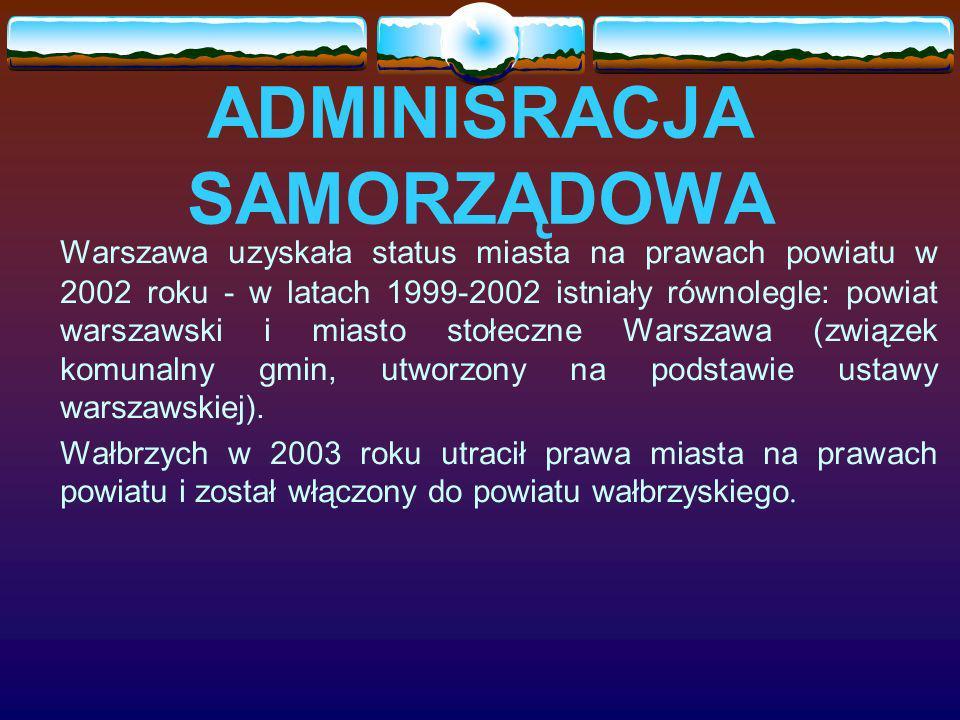 ADMINISRACJA SAMORZĄDOWA Warszawa uzyskała status miasta na prawach powiatu w 2002 roku - w latach 1999-2002 istniały równolegle: powiat warszawski i