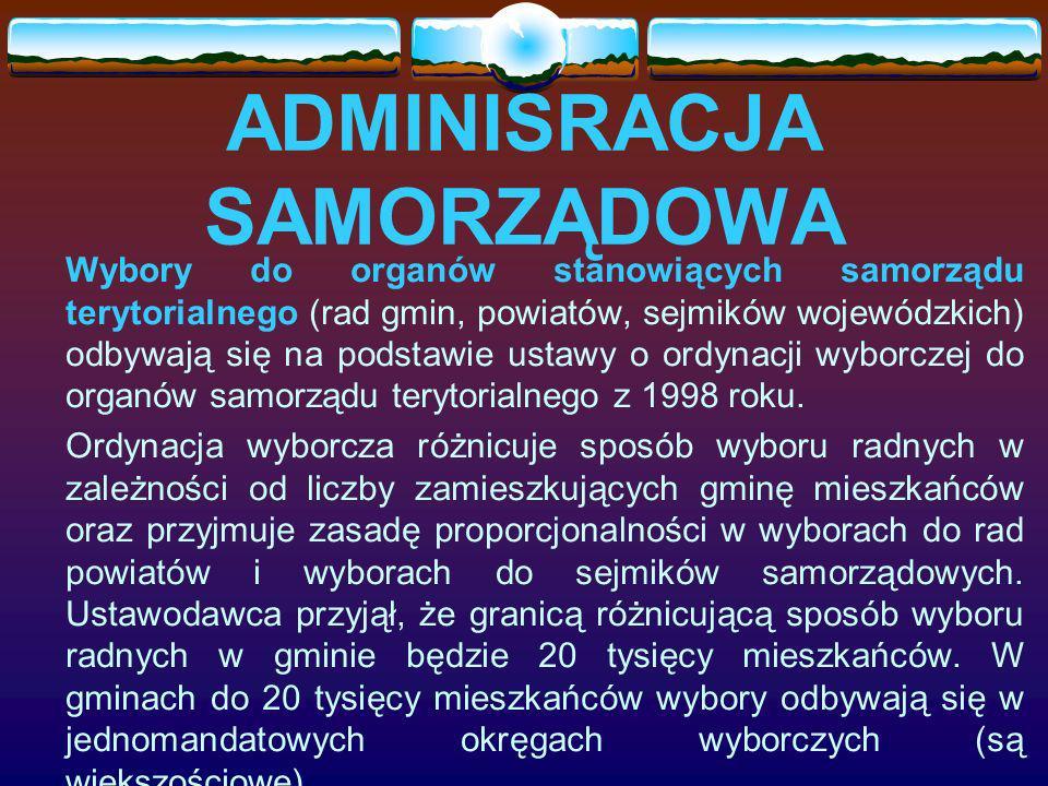 ADMINISRACJA SAMORZĄDOWA Wybory do organów stanowiących samorządu terytorialnego (rad gmin, powiatów, sejmików wojewódzkich) odbywają się na podstawie