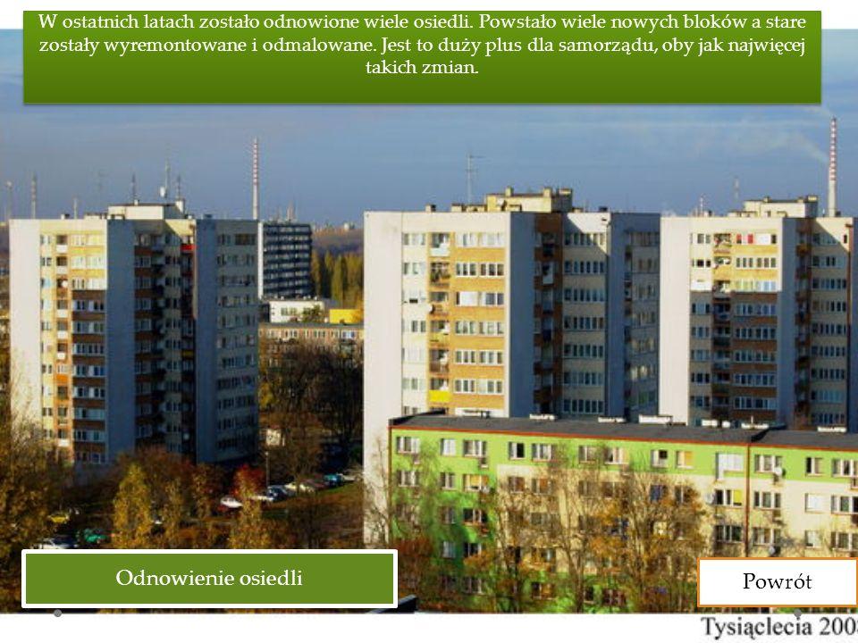 Odnowienie osiedli W ostatnich latach zostało odnowione wiele osiedli.