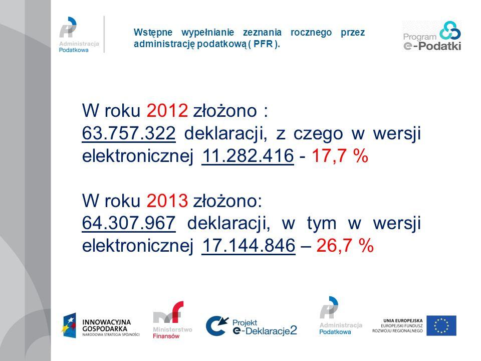 Wstępne wypełnianie zeznania rocznego przez administrację podatkową ( PFR ). W roku 2012 złożono : 63.757.322 deklaracji, z czego w wersji elektronicz