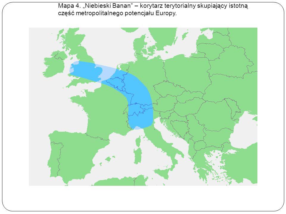 Mapa 4. Niebieski Banan – korytarz terytorialny skupiający istotną część metropolitalnego potencjału Europy.