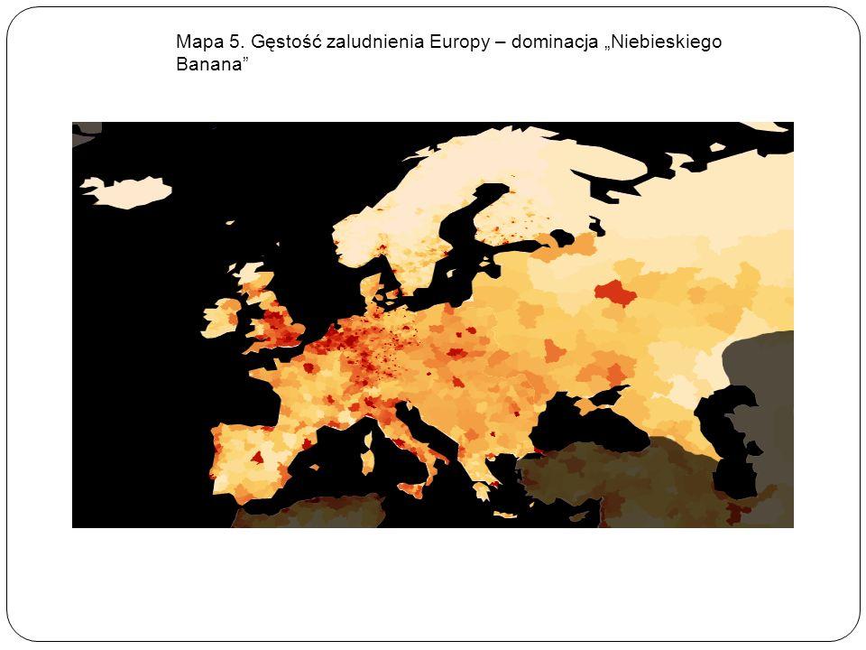 Mapa 5. Gęstość zaludnienia Europy – dominacja Niebieskiego Banana